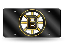 Boston Bruins Black Mirrored Laser Cut License Plate Laser Tag