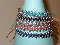 Banzai Beaded Braid with silver seed beads in 10 colors