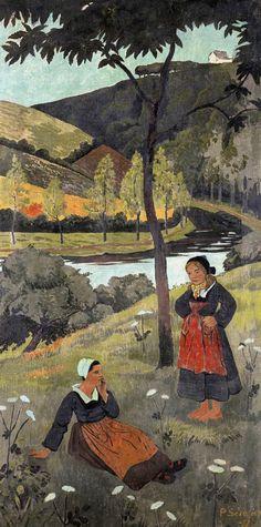Paul Sérusier (France 1864-1927)Deux bretonnes au bord de l'Aulne (1897)oil on canvas 150.5 x 75cm