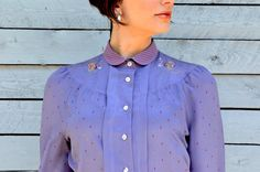 FREE SHIPPING Embroidered lilac shirt with peter by RoaringRetro, $35.00