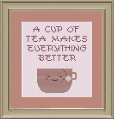 A cup of tea makes everything better by nerdylittlestitcher, $3.00