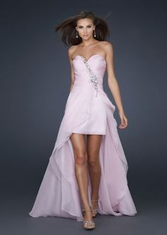 A-line Short Front Long Back Strapless Chiffon Prom Dresses