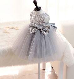 Couture Infant Gray Dress flower girl dress by fabposhtots