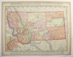 Vintage Map Montana North Dakota Map 1896 Western US State Map, Wedding Map Prop, United States Travel Art Map available from OldMapsandPrints on Etsy