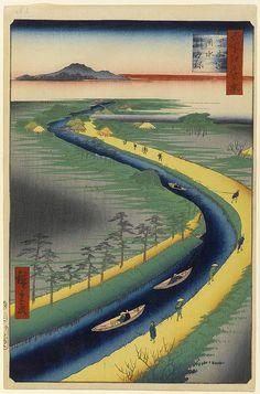 """Tow Boats Along The Yotsugi-Dori-Canal"" ... by Ando Utagawa Hiroshige - 100 views of Edo #33"