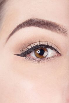 Notice how the liquid liner starts out slim, gradually widens as it moves along to the outer corner, and then flicks out to a sharp, straight point at the end.   - ELLE.com