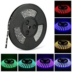 LED light Strip Nexlux Waterproof 5050 SMD RGB LED Flexible Strip Light Black PCB Board Color Changing Decoration Lighting No Power Supply and remote >>> Check this awesome product by going to the link at the image. (This is an affiliate link) Led Flexible Strip, Indoor String Lights, Pcb Board, Led Light Strips, Strip Lighting, Seasonal Decor, Flexibility, Remote, Decoration