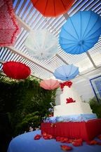 Red, White and Blue umbrella celiling - Amorology Photography