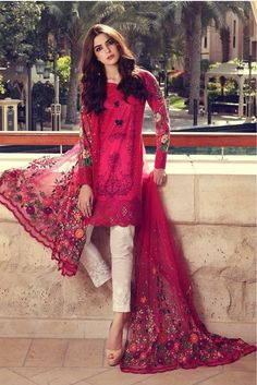 Buy Maria B Online In Pakistan Maria B Lawn Dress Design No. Maria B Replica Lawn Embroidered Suit – Unstitched  Embroidered Front  Printed Back Pakistani Couture, Pakistani Outfits, Indian Outfits, Pakistani Fashion 2017, Emo Outfits, Ethnic Fashion, Asian Fashion, Fashion Black, Punk Fashion