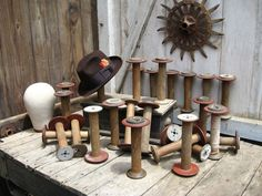 LARGE ANTIQUE INDUSTRIAL WOOD WOODEN SPOOL, VINTAGE HAT STAND