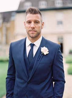 Groom in navy blue Hugo Boss | Glamorous English Wedding | Depict Photography | Bridal Musings Wedding Blog