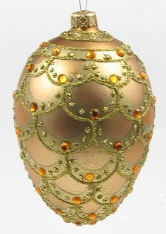 Faberge Egg Style Christmas Ornament Hand Blown And Hand Painted ...