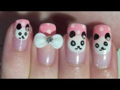 Acrylic Nail Art Tutorial - Nail Art Design From CoolNailsArt Panda Bear Nails, Panda Nail Art, Panda Bears, Fancy Nails, Cute Nails, Pretty Nails, Nail Polish Designs, Nail Art Designs, Matte Nail Colors