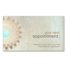 Gold Lotus Salon and Spa Appointment Card Business Card Template