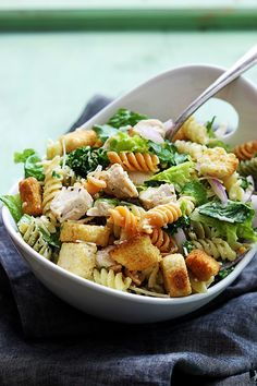 Chicken Caesar Pasta Salad by cremedelacrumb #Salad #Pasta #Chicken #Caesar