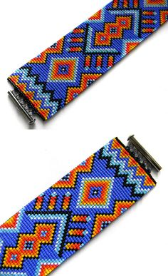 Colorful beadwoven bracelet ethnic style beaded by try this with warp threads ! Seed Bead Patterns, Peyote Patterns, Jewelry Patterns, Beading Patterns, Loom Band Bracelets, Loom Bands, Woven Bracelets, Native Beadwork, Peyote Beading
