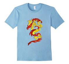 Keywebco: Chinese Dragon Tribal Tattoo T-Shirt - Male Small - Baby Blue