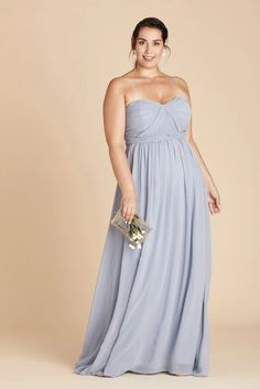 Grace Plus Size Convertible Chiffon Bridesmaid Dress in Dusty Blue – Birdy Grey Dusty Blue Bridesmaid Dresses, Bridesmaid Dresses Plus Size, Bridesmaids, Draped Dress, Strapless Dress Formal, Formal Dresses, Convertible Dress, Floor Length Gown, Pretty Dresses