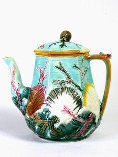 An ornate majolica teapot, 1882, Wedgwood Museum