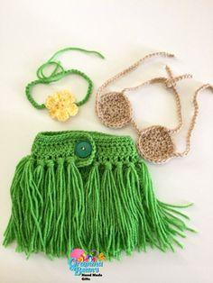 Little Hula Girl Outfit Crochet Pattern #GrammaBeans