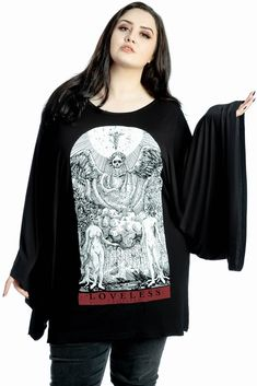 """e.vil Batwing Dress with Crystals /""""Queen of New York/"""" Black Size S"""