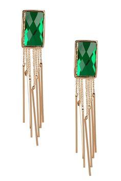 Green Crystal Tassel Earrings from HauteLook on shop.CatalogSpree.com, your personal digital mall.