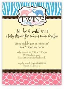Girl and Boy twin invites safari themed shower