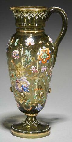 Moser Enameled Glass Pitcher. Circa 1885