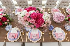 aboutdetailsdetails.com | Katie Beverley Photography | OC Wedding | OC Wedding Planner | Newport Pelican Hill Resort Wedding | Blush Wedding | Vibrant Pink Wedding | Bridal Luncheon | Andrea Restaurant at Pelican Hill | Peonies, Roses, and Hydrangea | Gold Rimmed Blush Chargers | Blue Patterned Vintage China | Casa de Perrin Stemware | Low Centerpiece | Lush Centerpiece | Chic Paris