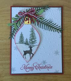 Stampin Up handmade Christmas card - Ornament with perfect pines