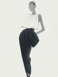 Elegant fashion illustration using watercolour pastels // Mats Gustafson for Dior FW13