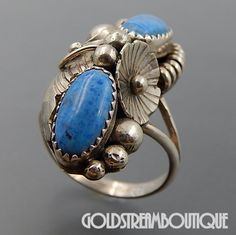 NATIVE AMERICAN JERRY COWBOY NAVAJO STERLING SILVER DENIM LAPIS LAZULI FLOWER FEATHER BEADS RING SIZE 7.75