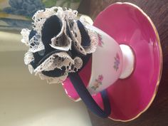 Hand made denim and lace flower head band