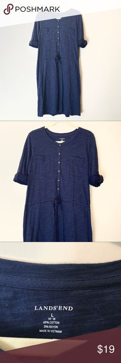 Lands' End Navy Blue Dress Navy blue Heather cotton and rayon dress with tie at waist and straps to roll up sleeves by Lands' End.  Perfect casual dress or can be worn as a tunic over leggings or as a beach coverup!  Size Large or 14 / 16.  Excellent condition! Lands' End Dresses Midi