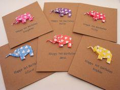 New Baby / Happy Birthday Origami Elephant Card: Baby Boy or Baby Girl; Children's Birthday Card; 1st Birthday Card.