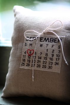Customized wedding date, burlap ring pillow. Let your ring barer carry this on your wedding day and it can adorn your home for years to come. The~Lil~Things can make this to match your #wedding day theme. #Bridal #bridetobe #wedwecan @laralilthings