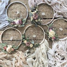 Set of Silk Boho Dreamcatchers Bridesmaid gifts Set of Dream Catcher Boho, Dream Catchers, Boho Bride, Bridal Gifts, Rose Buds, Dried Flowers, Bridesmaid Gifts, Ontario, Diy Wedding