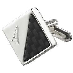 Visol Moretti Personalized Carbon Fiber and Silver Plated Cufflinks (M), Men's, Size: Medium