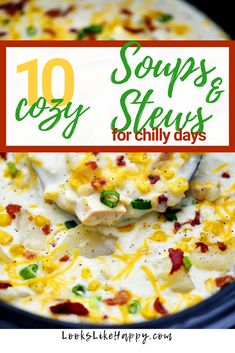 Not much is better than a yummy, hot, cozy soup or stew on a chilly day! These slow cooker recipes will hit the spot every time. Best Crockpot Recipes, Slow Cooker Recipes, Soup Recipes, Delicious Recipes, Crock Pot Soup, Slow Cooker Soup, Soup Kitchen, Homemade Soup, Dinner Is Served