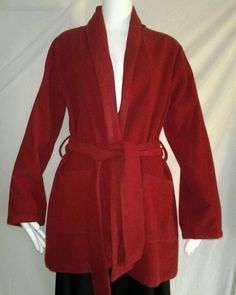 EILEEN FISHER Red Wool Jacket Cardigan Open front Belted with Pocket Sz S in Clothing, Shoes & Accessories, Women's Clothing, Coats & Jackets | eBay