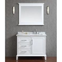 Seacliff by Ariel Nantucket 42 Single Sink Bathroom Vanity Set with Carrera White Marble Countertop - White Vanity Set With Mirror, Single Sink Bathroom Vanity, Single Bathroom Vanity, Vanity Sink, Modern Bathroom, Small Bathroom, Wall Mirror, White Bathroom Vanities, Mirror Bathroom