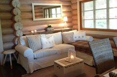 Wooden House, Log Homes, Cabana, My Dream Home, Small Spaces, Ikea, Cottage, Couch, Furniture