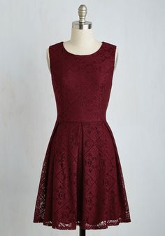 Happily Ember After Dress - Red, Solid, Party, Holiday, A-line, Sleeveless, Woven, Lace, Better, Variation