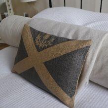 hand printed rustic saltire flag cushion