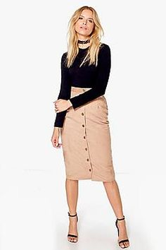 Marin Button Front Woven Suedette Midi Skirt