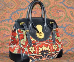 NWT Ralph Lauren Collection Ricky Persian Rug Blue Leather Bag #RalphLauren #ShoulderBag