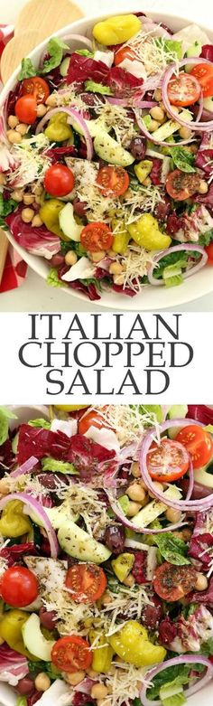 Italian Chopped Salad - a chopped salad that's loaded with flavor. It's great to serve with any Italian dish, grilled chicken or salmon, yet filling enough to be a meal on its own. Perfect for warm summer nights, backyard barbecues and potlucks. Italian Chopped Salad, Chopped Salad Recipes, Healthy Salad Recipes, Vegetarian Recipes, Cooking Recipes, Italian Salad Recipes, Chopped Salads, Green Salad Recipes, Kale Recipes