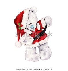Watercolor illustration of hand painted teddy bear toy