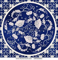 Beautiful floral round pattern in chinese style. Imitation of chinese porcelain painting. Blue watercolor ba… - New Deko Sites Background Vintage, Vector Background, Background Patterns, Delft, Chinese Style, Chinese Art, Chinese Patterns, Art Asiatique, Blue Pottery