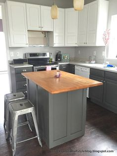 Great ideas for updating your builder grade end cabinets, islands and peninsulas for a custom look.